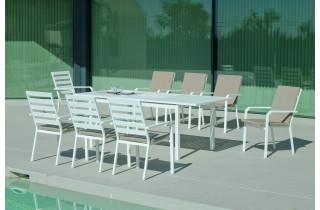 Ensemble table et fauteuils de jardin extensible 8 personnes en aluminium et Dralon - Palma caravel - blanc - Hevea