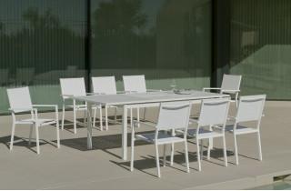 Ensemble table et fauteuils de jardin extensible 8 personnes en aluminium et textilène - Palma roma - Hevea
