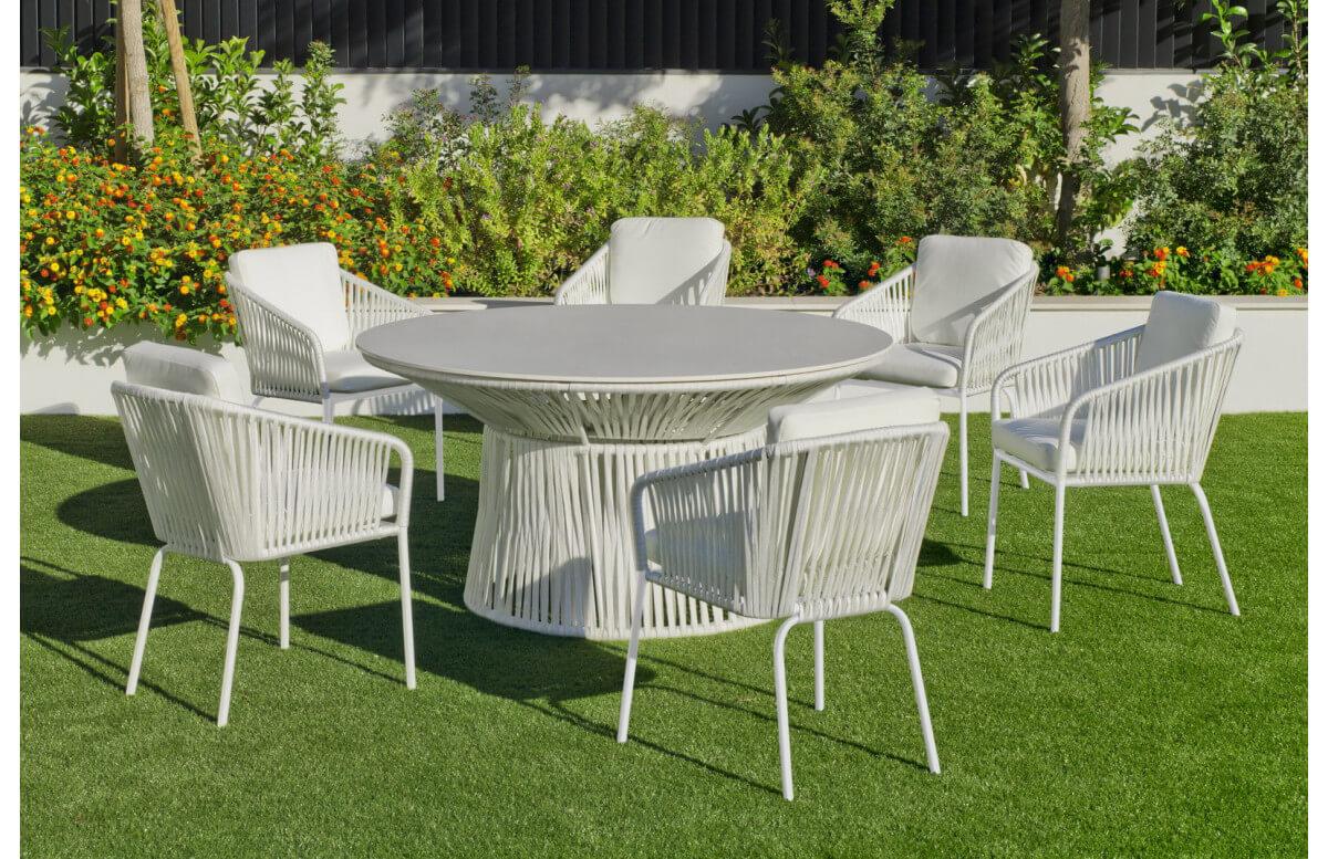 Ensemble table et fauteuils de jardin 6 personnes en aluminium et Krion - Rhodos/tulip - blanc - Hevea