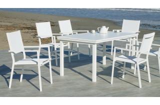 Fauteuil salon de jardin en aluminium et textilène - Roma - Hevea