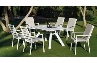Ensemble table et fauteuils de jardin 6 personnes en aluminium et Dralon - Samara/palma - blanc - Hevea