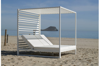 Lit de jardin balinaise multi-positions 2 personnes en aluminium et Dralon - Santorini - blanc - Hevea