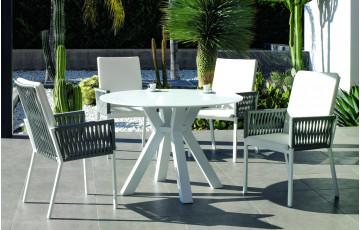 Ensemble table ronde et fauteuils de jardin 4 personnes en aluminium et Krion - Sumatra/catania - blanc - Hevea