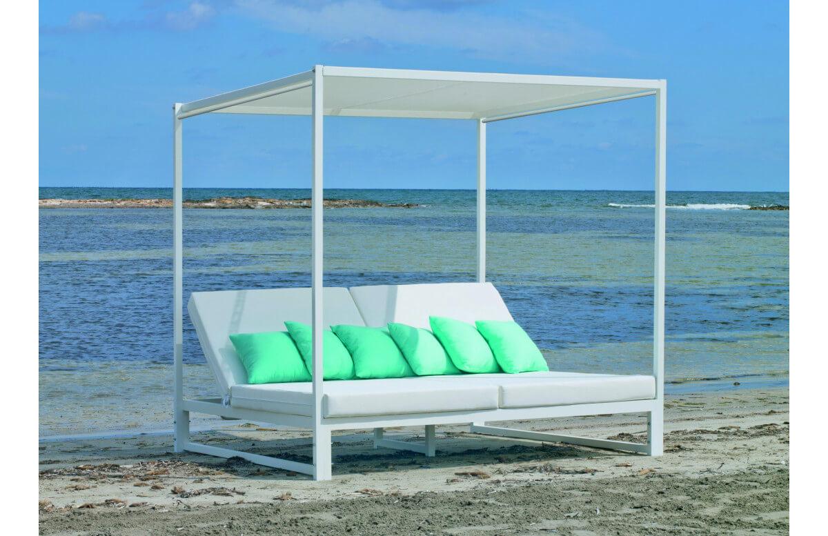 Lit de jardin balinaise multi-positions 2 personnes en aluminium et Dralon - Texas - blanc - Hevea