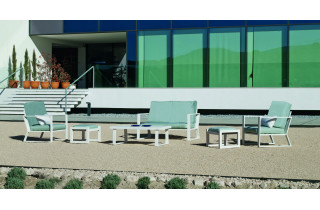 Salon de jardin bas 6 personnes en aluminium et Dralon - Bolonia - Hevea