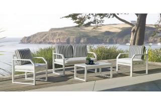 Salon de jardin bas 4 personnes en aluminium et Dralon - Genova - Hevea