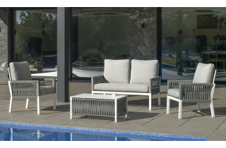 Salon de jardin bas 4 personnes en aluminium et cordage - Havana - Hevea