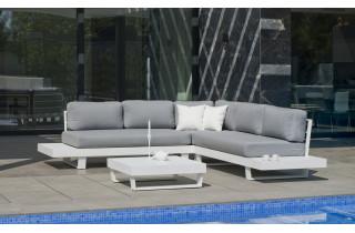 Salon de jardin bas d'angle 6 personnes en aluminium et Dralon - Menfis - Hevea