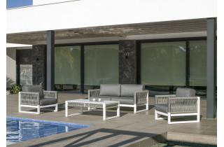 Salon de jardin bas 4 personnes en aluminium et cordage - Monterrey - Hevea