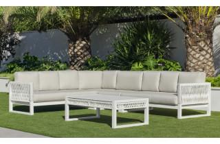 Salon de jardin bas d'angle 9 personnes en aluminium et cordage - Monterrey - Hevea