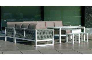 Salon de jardin bas d'angle 10 personnes en aluminium et cordage - Monterrey - Hevea