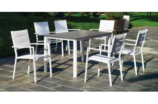 Ensemble table et fauteuils de jardin 6 personnes en aluminium et HPL - Palma/milos - Hevea
