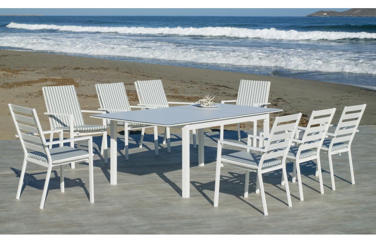 Ensemble table et fauteuils de jardin extensible 8 personnes en aluminium et HPL - Palma - Hevea