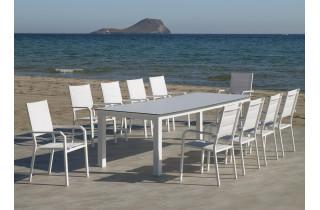 Fauteuil salon de jardin en aluminium et textilène - Priscila - Hevea