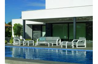 Salon de jardin bas d'angle 6 personnes en aluminium et Dralon - Zafiro - Hevea