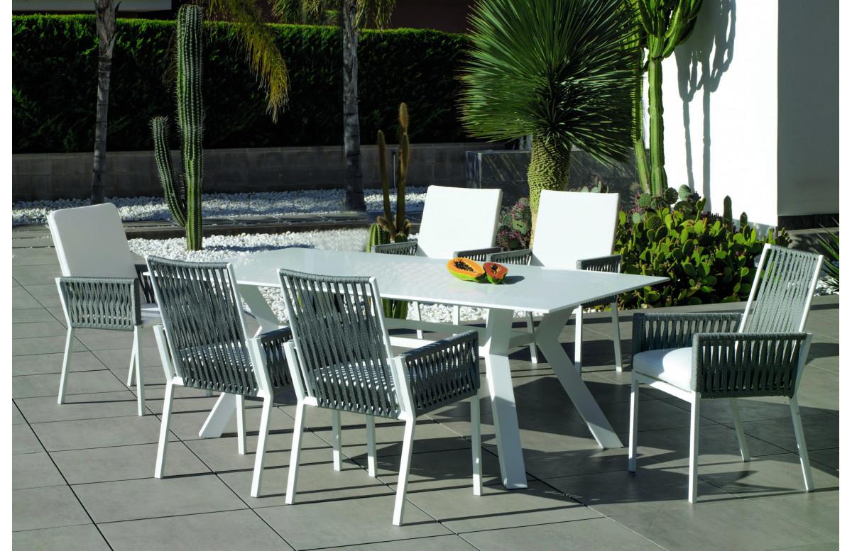 Table salon de jardin 6 personnes en aluminium et Krion - Andes - blanche - Hevea