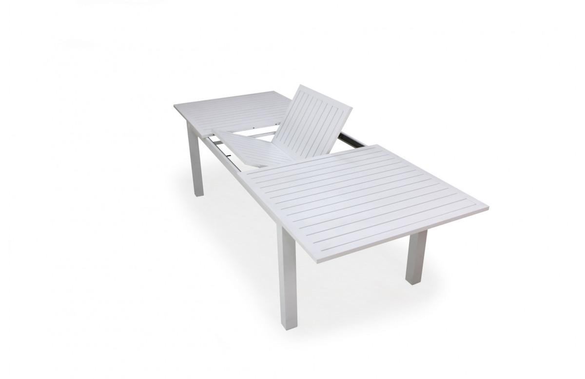 Table salon de jardin extensible 12 personnes en aluminium - Camelia - blanche - Hevea
