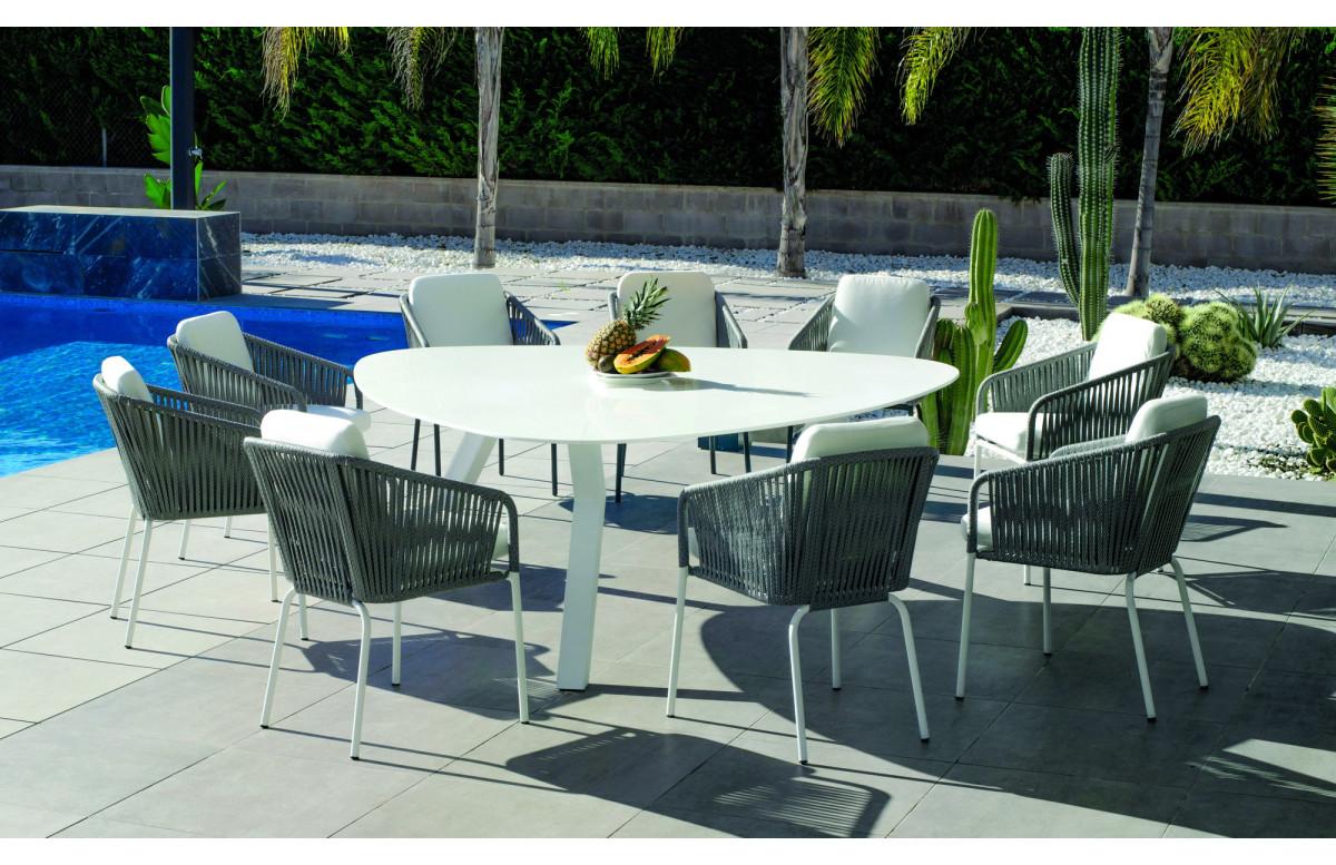 Table triangulaire salon de jardin 8 personnes en aluminium et Krion - Everest - blanche - Hevea