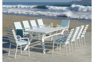 Table salon de jardin 6 personnes en aluminium - Olimpia - Hevea