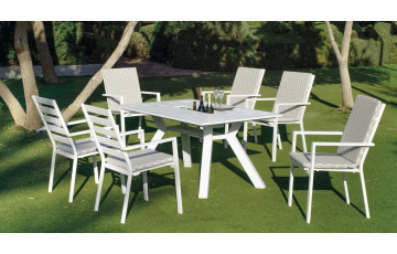 Table salon de jardin 6 personnes en aluminium - Samara - blanche - Hevea