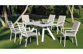 Table salon de jardin 10 personnes en aluminium - Samara - blanche - Hevea