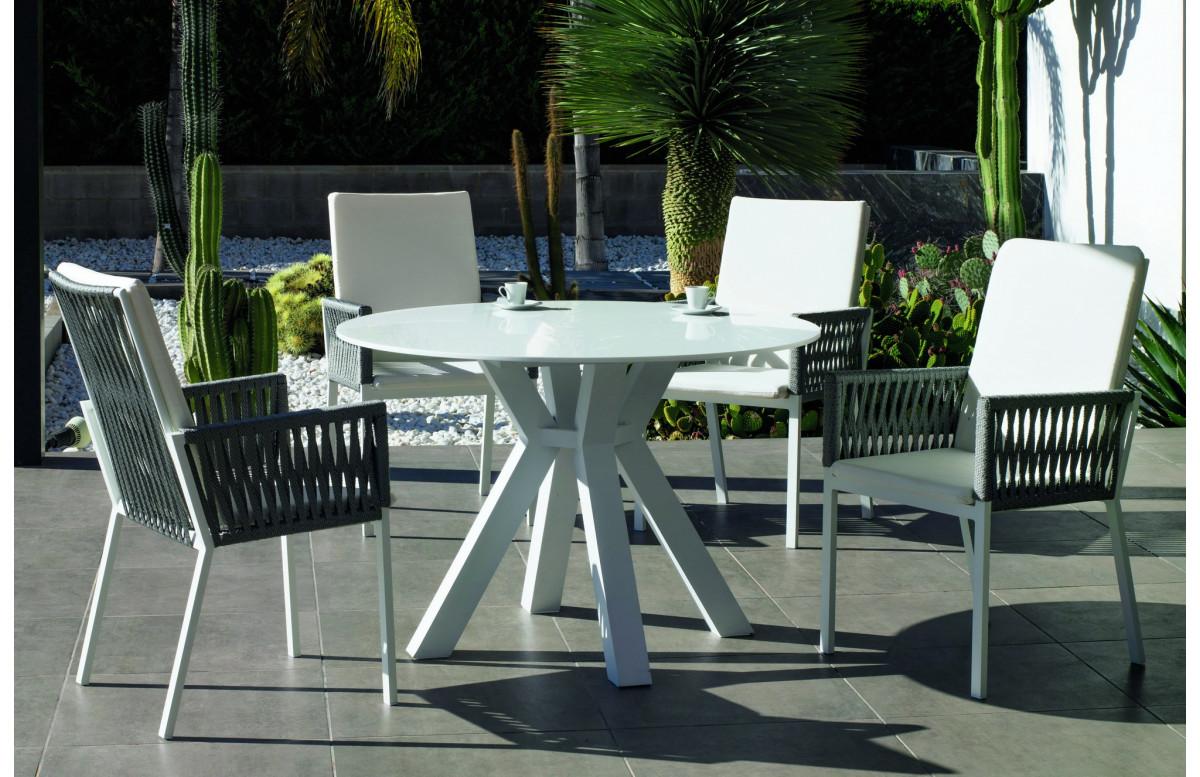 Table ronde salon de jardin 4 personnes en aluminium et Krion - Sumatra - blanche - Hevea