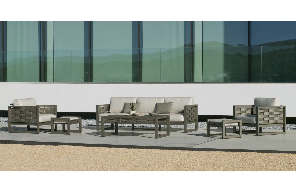 Salon de jardin bas 7 personnes en aluminium et Dralon - Augusta - champagne - Hevea
