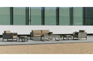 Salon de jardin bas 6 personnes en aluminium et Dralon - Augusta - champagne - Hevea
