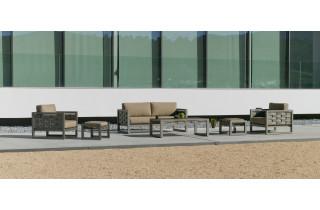 Salon de jardin bas 5 personnes en aluminium et Dralon - Augusta - champagne - Hevea