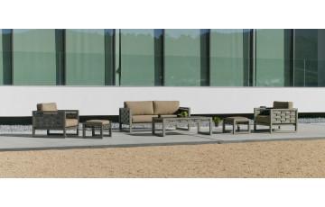 Salon de jardin bas 4 personnes en aluminium et Dralon - Augusta - champagne - Hevea