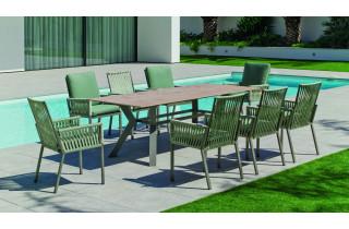 Ensemble table et fauteuils de jardin 8 personnes en aluminium et Neolith - Boheme saigon /catania - Hevea