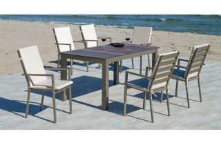 Ensemble table et fauteuils de jardin 6 personnes en aluminium et HPL - Camelia/palma - champagne - Hevea