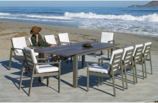 Ensemble table et fauteuils de jardin extensible 10 personnes en aluminium et Dralon - Camelia - champagne - Hevea