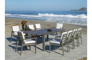 Table salon de jardin extensible 12 personnes en aluminium et HPL - Camelia - Hevea