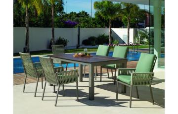 Fauteuil salon de jardin en aluminium et cordage - Catania - champagne - Hevea