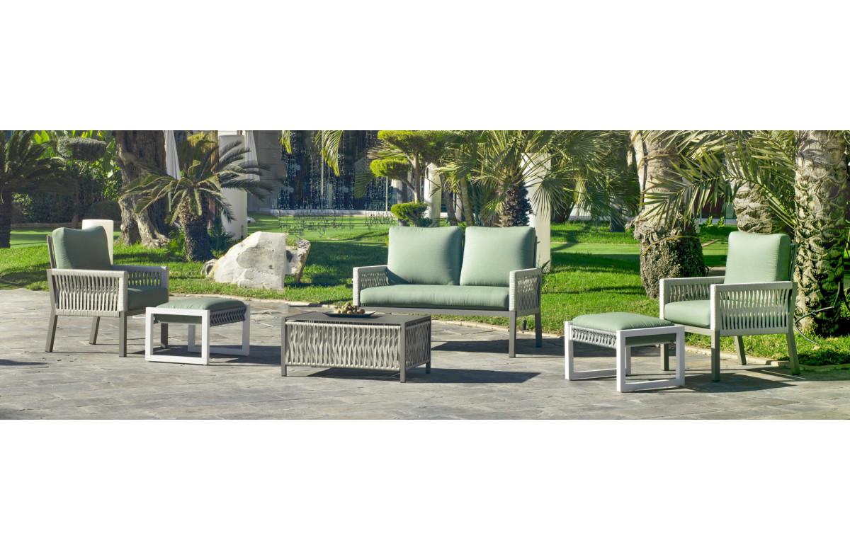 Salon de jardin bas 7 personnes en aluminium et cordage - Havana - champagne - Hevea