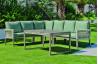 Salon de jardin bas d'angle 6 personnes en aluminium et cordage - Havana - champagne - Hevea