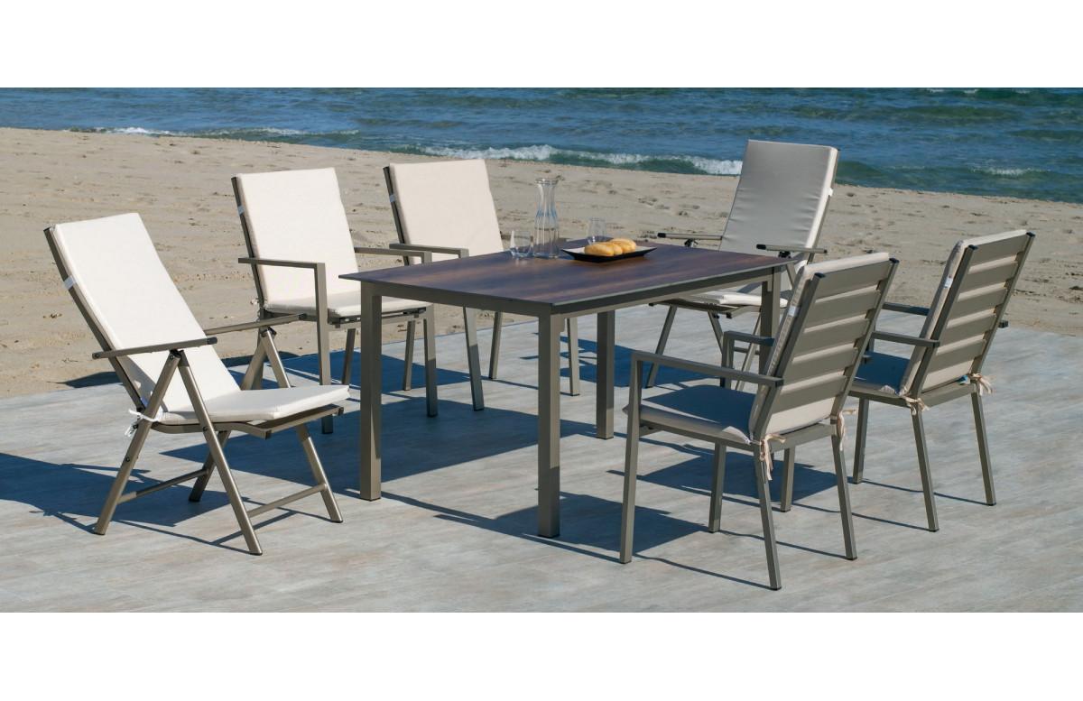 Ensemble table et fauteuils de jardin pliable 6 personnes en aluminium et HPL - Palma - champagne - Hevea