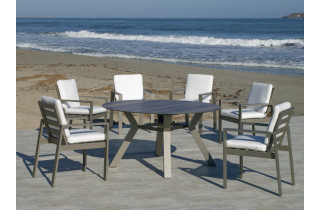 Ensemble table ronde et fauteuils de jardin 6 personnes en aluminium et HPL - Sumatra/camelia - champagne - Hevea