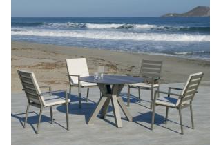 Ensemble table ronde et fauteuils de jardin 4 personnes en aluminium et HPL - Sumatra/palma - champagne - Hevea
