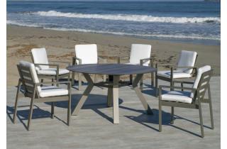 Table ronde salon de jardin 6 personnes en aluminium et HPL - Sumatra - champagne - Hevea