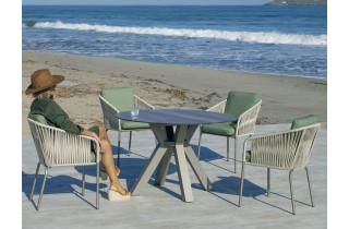 Table ronde salon de jardin 4 personnes en aluminium et HPL - Sumatra - Hevea