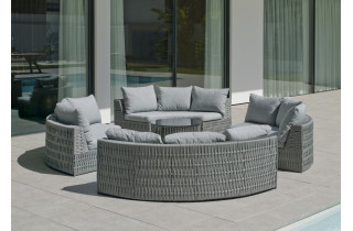 Salon de jardin bas rond 8 personnes en aluminium et cordage - Naroha - gris - Hevea