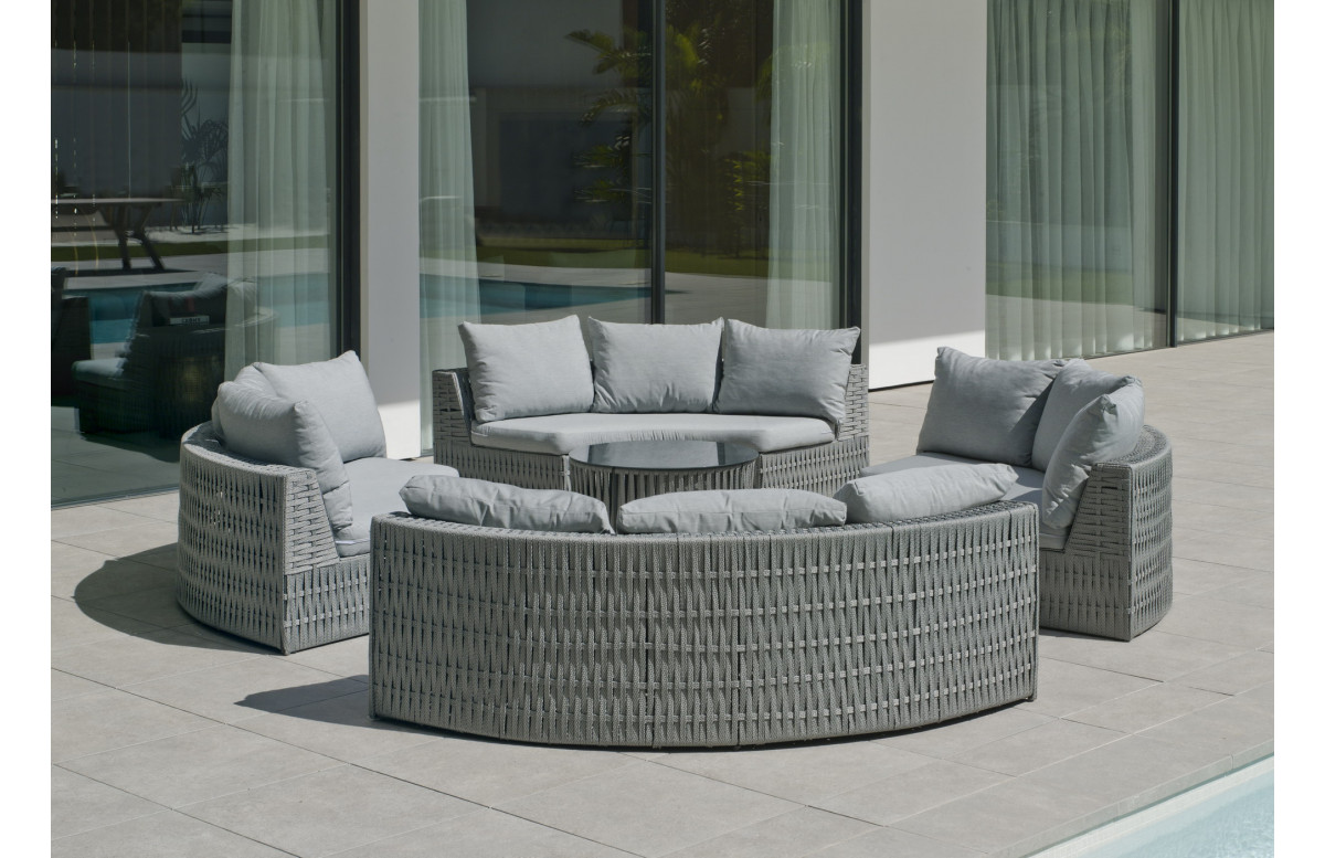 Salon de jardin bas rond 2 personnes en aluminium et cordage - Naroha - gris - Hevea