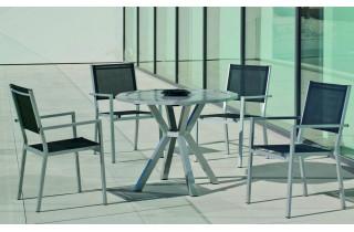 Table ronde salon de jardin 4 personnes en aluminium - Baracoa - Hevea