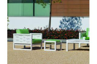Salon de jardin bas 6 personnes en aluminium et Dralon - Augusta - Hevea