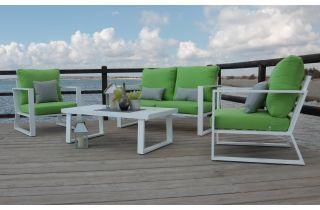 Salon de jardin bas 4 personnes en aluminium et Dralon - Bolonia - blanc - Hevea
