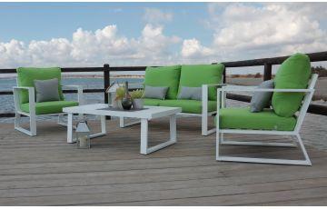 Salon de jardin bas 5 personnes en aluminium et Dralon - Bolonia - blanc - Hevea