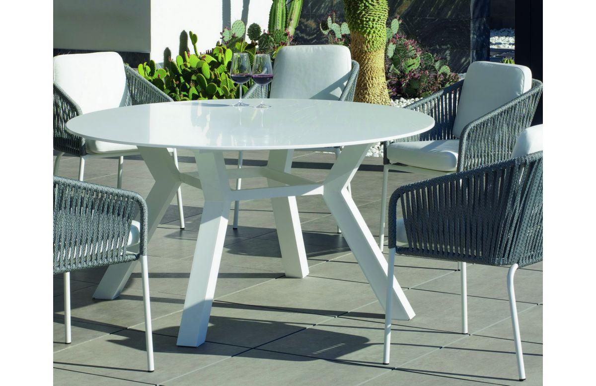 Table ronde salon de jardin 6 personnes en aluminium et Krion - Andes - blanche - Hevea