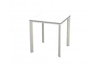 Table de jardin carrée empilable MEET80 en aluminium et HPL 2 personnes EZPELETA